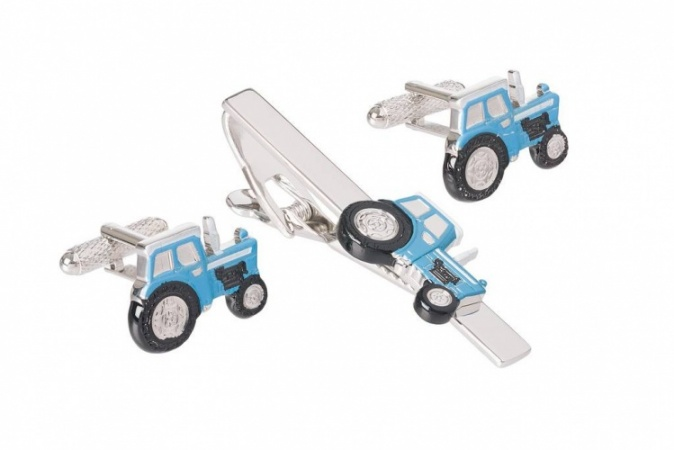Blue Tractor Cufflinks and Tie Clip Set